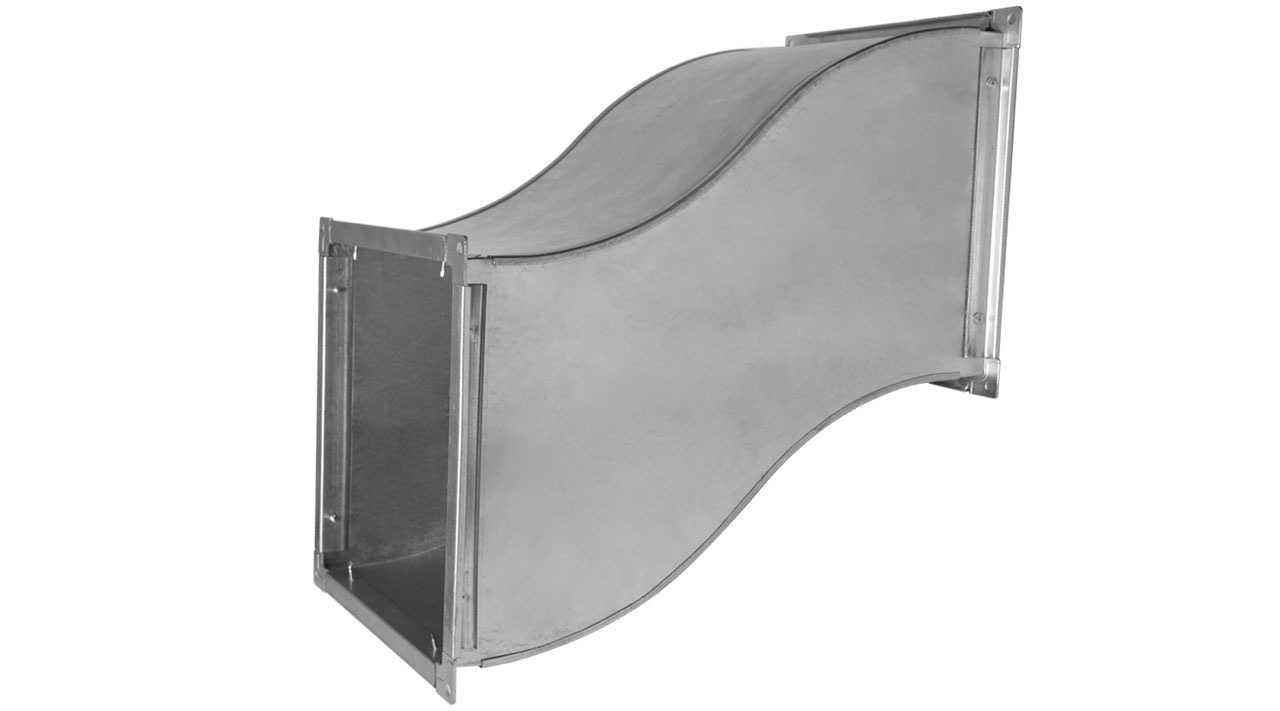 Утка с прямоугольным сечением для воздуховода